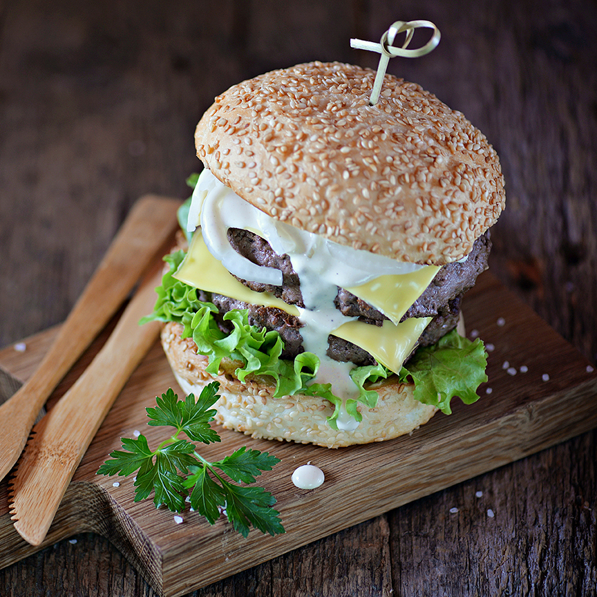Homemade double cheeseburger